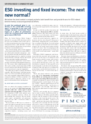 Esg Investing And Fixed Income The Next New Normal Pimco